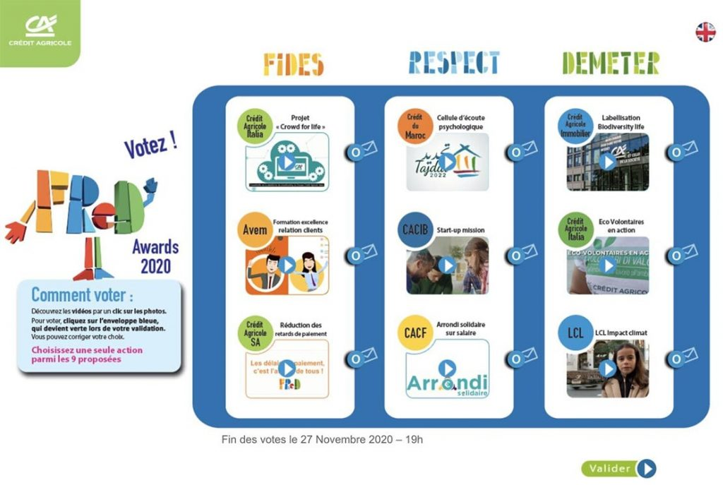 credit agricole et ses initiatives rse : fred awards